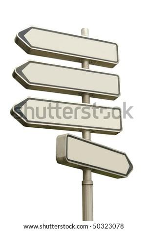 Multidirectional blank metal signpost over white background - stock photo