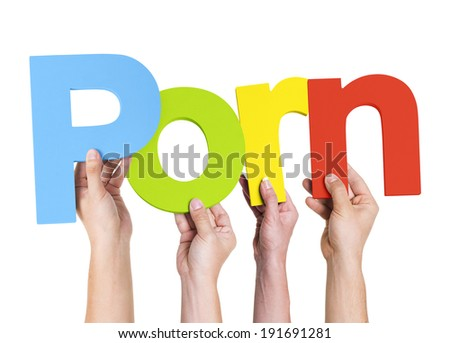 Multiethnic Arms Raised Holding Text Porn - stock photo