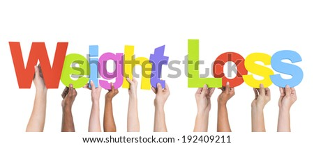 Multiethnic Arms Raised Holding Texts Weight Loss - stock photo