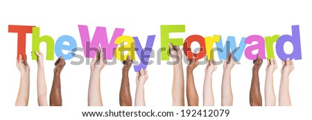 Multiethnic Arms Raised Holding The Way Forward - stock photo