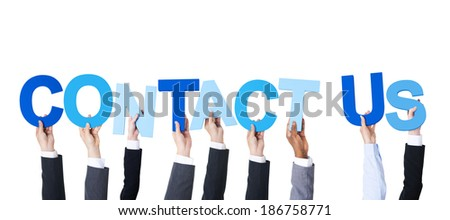 Multiethnic Business People Holding Contact Us - stock photo