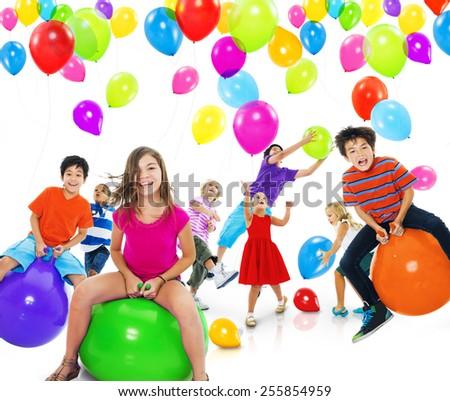 Multiethnic Children Balloon Happiness Friendship Concept - stock photo