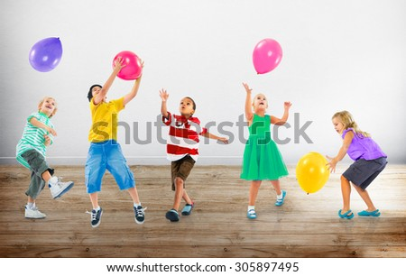 Multiethnic Children Balloon Happiness Friendship Concept