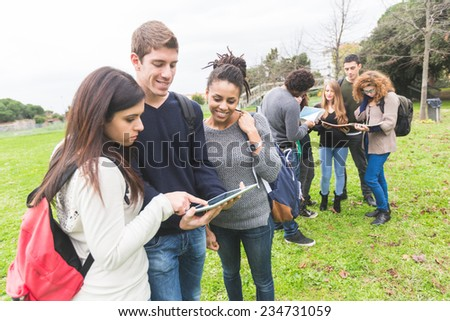 Multiethnic College Students at Park