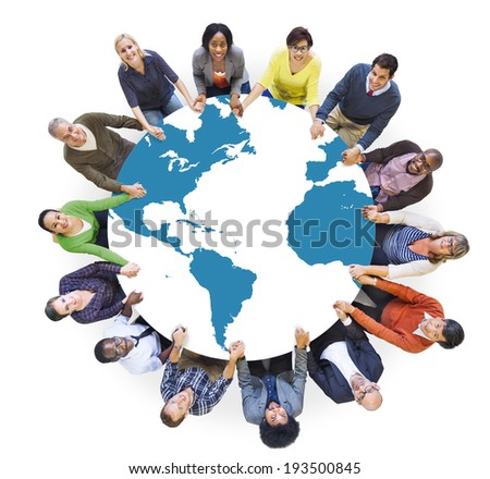 Multiethnic Diverse World People Holding Hands - stock photo