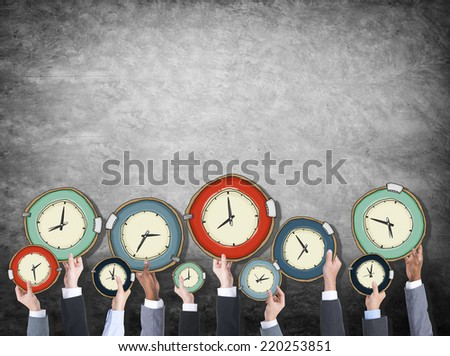 Multiethnic Group of Business People with Time Concept
