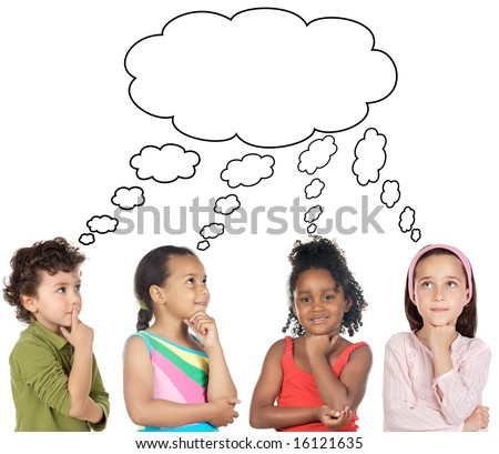 multiethnic group of children thinking a over white background - stock photo