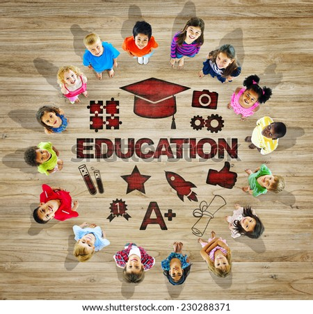 Multiethnic Group of Children with Education Concept - stock photo
