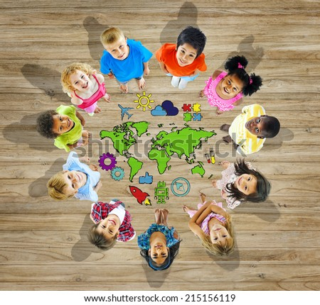 Multiethnic Group of Children with World Map - stock photo