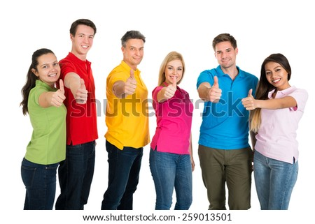 Multiethnic Group Of Friends Showing Thumbs Up Over White Background