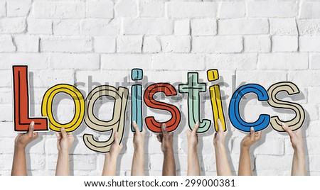 Multiethnic Group of Hands Holding Letter Logistics - stock photo