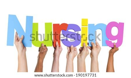 Multiethnic Group of Hands Holding Nursing - stock photo