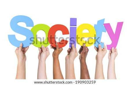 Multiethnic Group of Hands Holding Society - stock photo