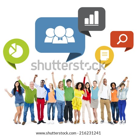 Multiethnic Group of People Arms Raised with Speech Bubbles - stock photo