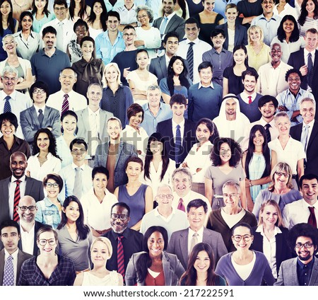 Multiethnic Group of People Smiling - stock photo