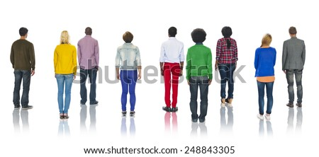Multiethnic Group of People Standing Rear View - stock photo