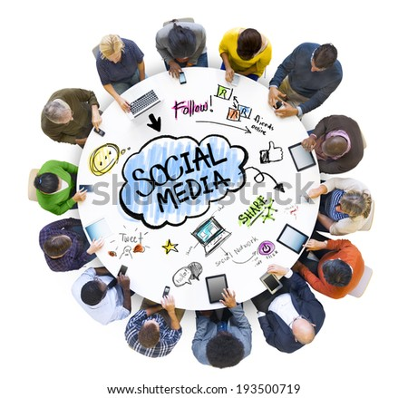 Multiethnic Group of People with Social Media - stock photo