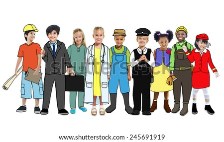 Multiethnic Group of People with Various Occupations Concept - stock photo
