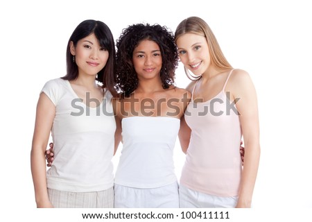 Multiethnic group of young woman isolated on white background.