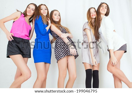 Multiethnic group of young woman isolated on white background - stock photo