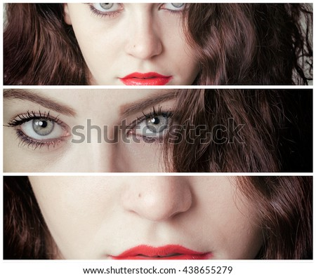 Multiframe portrait of girl with gorgeous eyes - stock photo