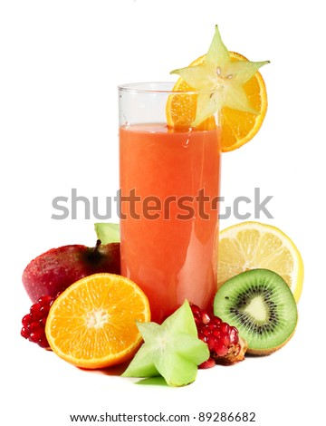 Multifruit juice with differnt fruits isolated on white background - stock photo