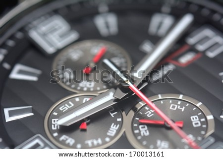 Multifunction black dial of the sport watch.