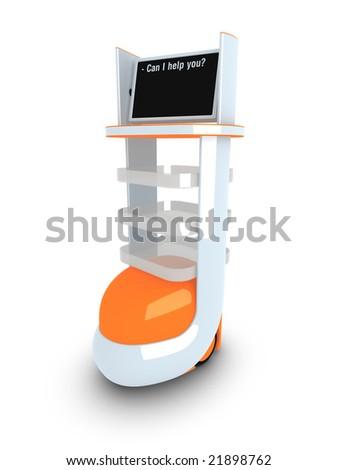 Multifunction mobile robot on white background - stock photo
