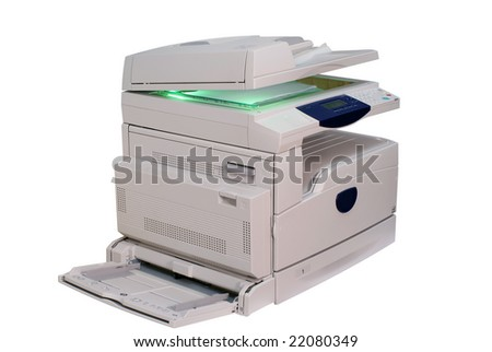 Multifunction printer isolated on white - stock photo