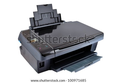 multifunction printer on a white background - stock photo