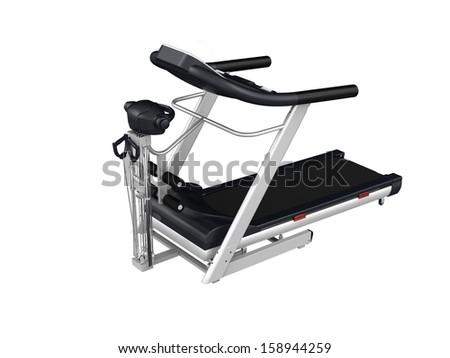 Multifunction treadmill isolated on white background - stock photo