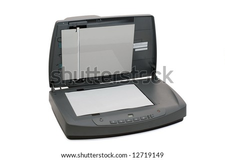 Multifunctional flatbed scanner isolated on white