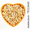 Multigrain Cheerios Cereal Shaped into Heart - stock photo