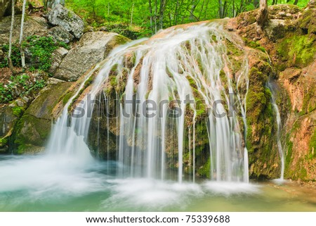 Multijet waterfall in Crimea. Ukraine. - stock photo
