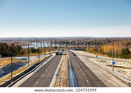 multilane paved road  landscape in autumn