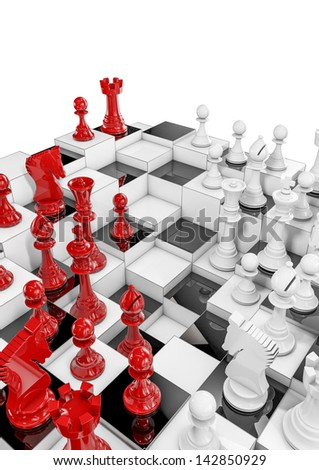 Multilayer chess - stock photo