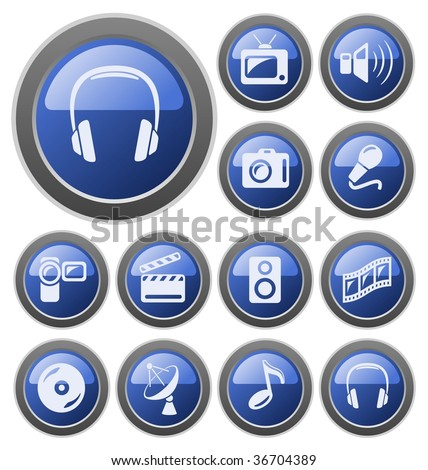 Multimedia buttons. See vector version in my portfolio