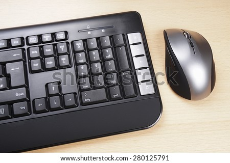 multimedia computer keyboard with German layout and 5 button mouse  - stock photo