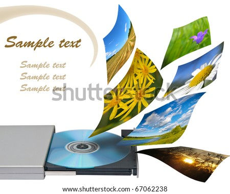 Multimedia concept with cd or dvd rom. Isolated on white. - stock photo