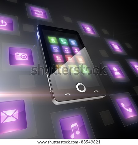 Multimedia icons around cell phone - stock photo