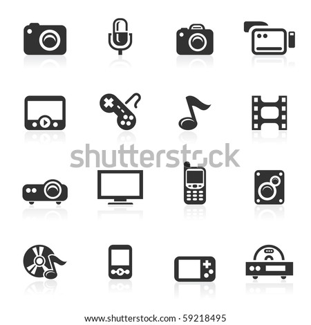 Multimedia  icons - minimo series - stock photo