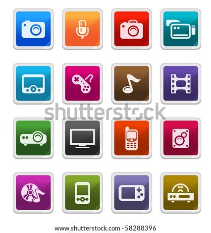 Multimedia Sticker Icons isolated over white background - sticker series - stock photo