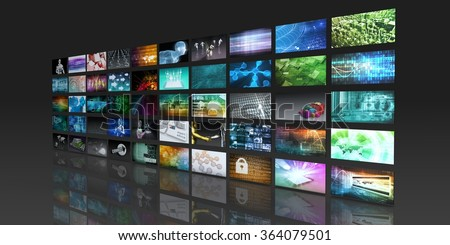 Multimedia Technology Digital Devices Information Concept - stock photo