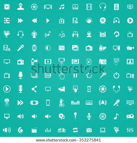 multimedia, video 100 icons universal set for web and mobile