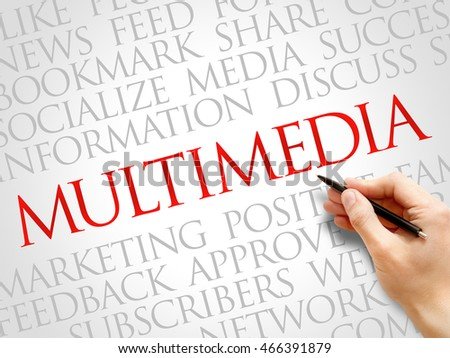 Multimedia word cloud collage, business concept background