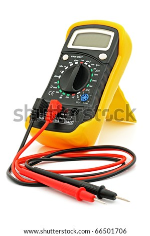 Multimeter for a measurement of a voltage, current and resistance with cables. - stock photo