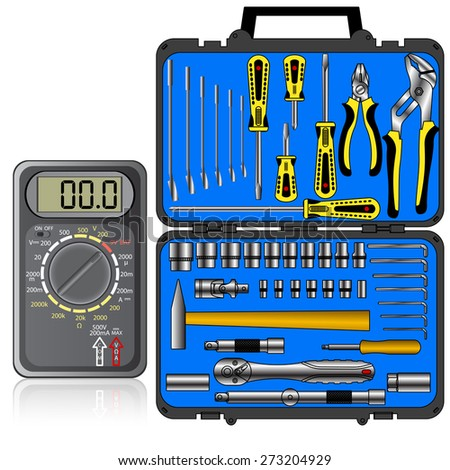 Multimeter of black color and set of different tools  in a box  - stock photo