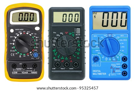 Multimeters for measurement of voltage, a current, resistance. Isolated on a white background. Collage. - stock photo