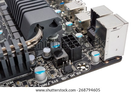 Multiphase power system modern processor with heatsink - stock photo