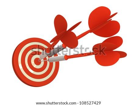 Multiple Arrow Hits Bull's Eye  (Isolated on White Background) - stock photo